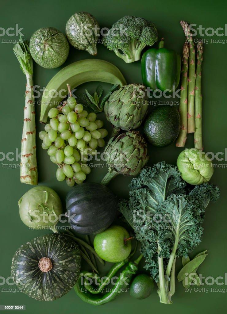 녹색 과일 및 야채 - 로열티 프리 0명 스톡 사진