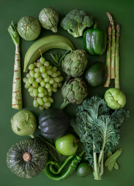 green fruits and vegetables - composition stock pictures, royalty-free photos & images