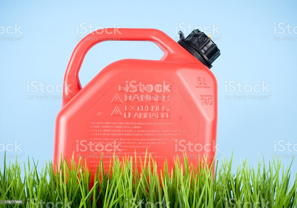 Green Fuel, Gasoline on Grass stock photo