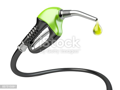 istock Green fuel pump nozzle with drop oil. 537315591