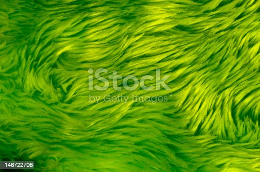 A close-up of an green fake fur, might be a carpet. Or a green scary monster!