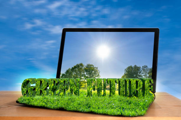 Green future. Open laptop with 3D text green future and grass texture. Eco, ecology concept. Green future. Open laptop with 3D text green future and grass texture. Eco, ecology concept. green economy stock pictures, royalty-free photos & images