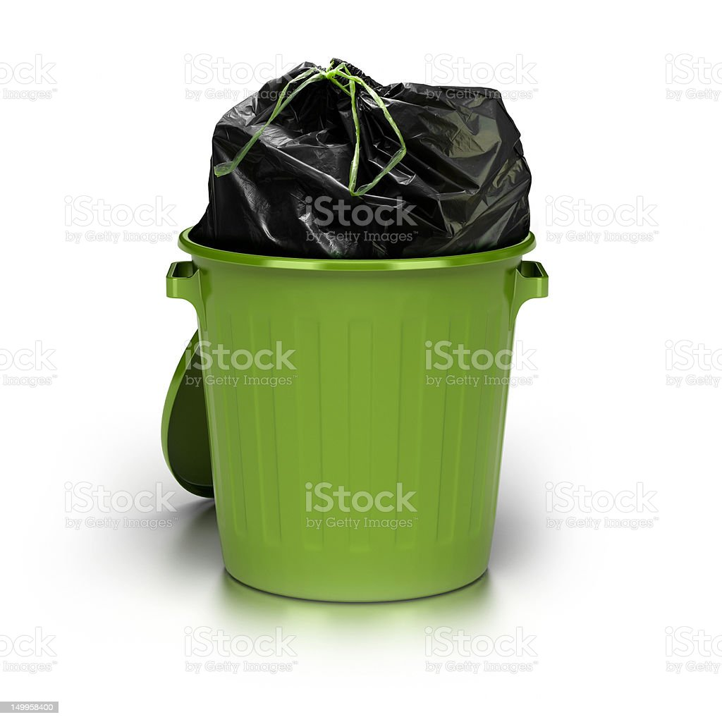 green garbage can stock photo