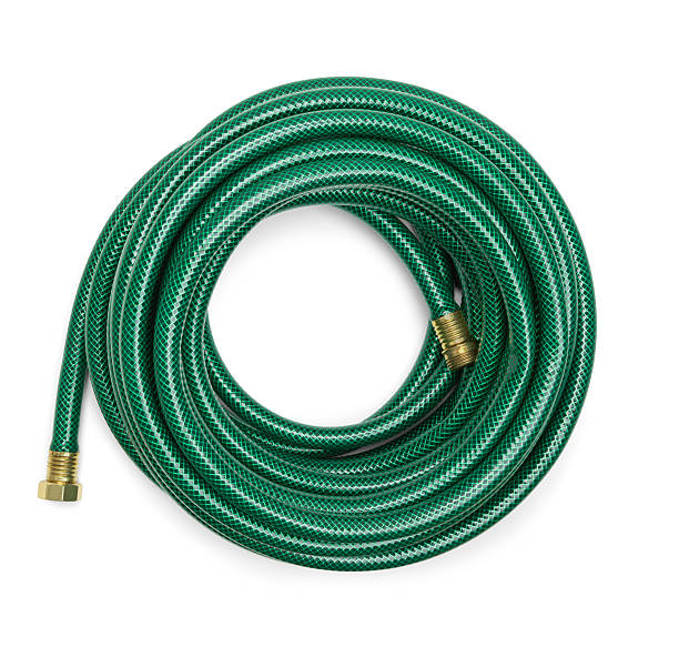 Green Garden Hose Top View of a Green Garden Hose Isolated on a White Background. hose stock pictures, royalty-free photos & images