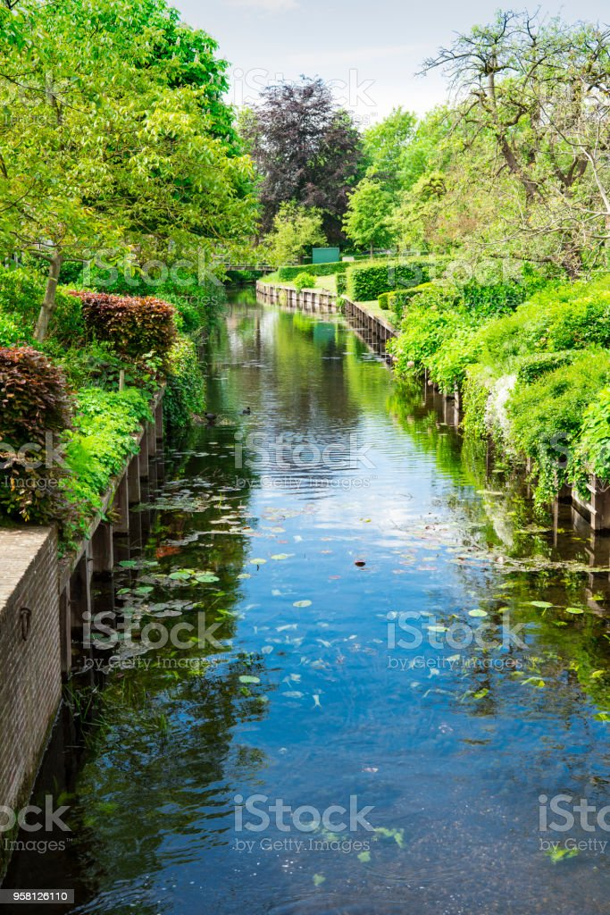 green gardens and ditch in Drimmelen, The Netherlands stock photo