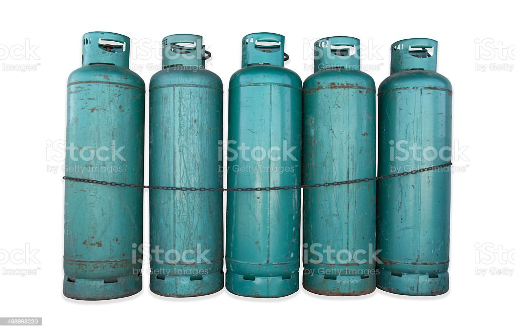 Green gas tanks and chain. stock photo
