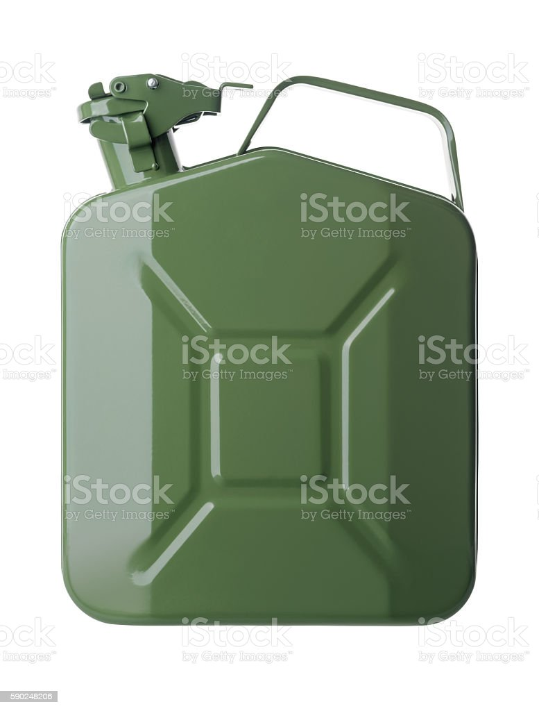 Green gasoline canister stock photo
