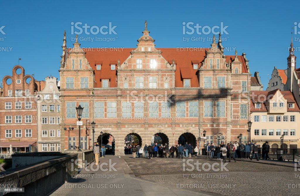 Green Gate entrance to old town of Gdansk Poland stock photo