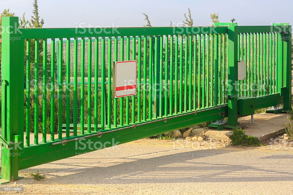 Green gates stock photo