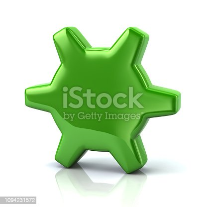 Green gear settings icon 3d illustration on white background