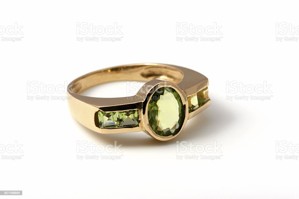 Green gem on a ring royalty-free stock photo
