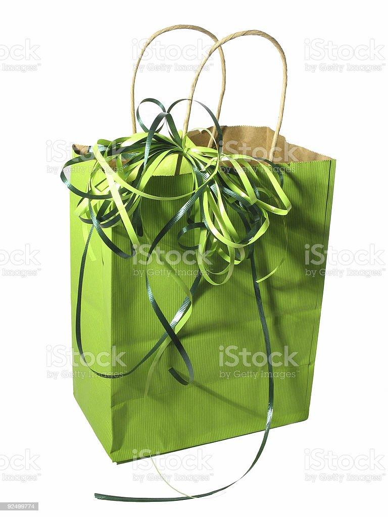 green gift bag royalty-free stock photo