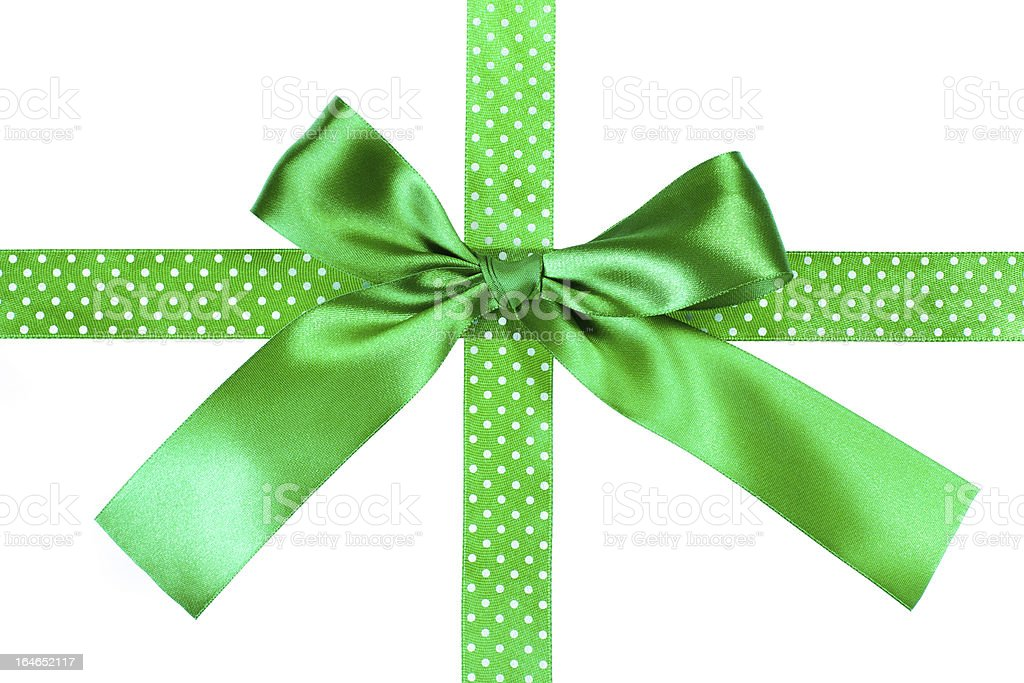 Green gift bow and ribbon on white background royalty-free stock photo
