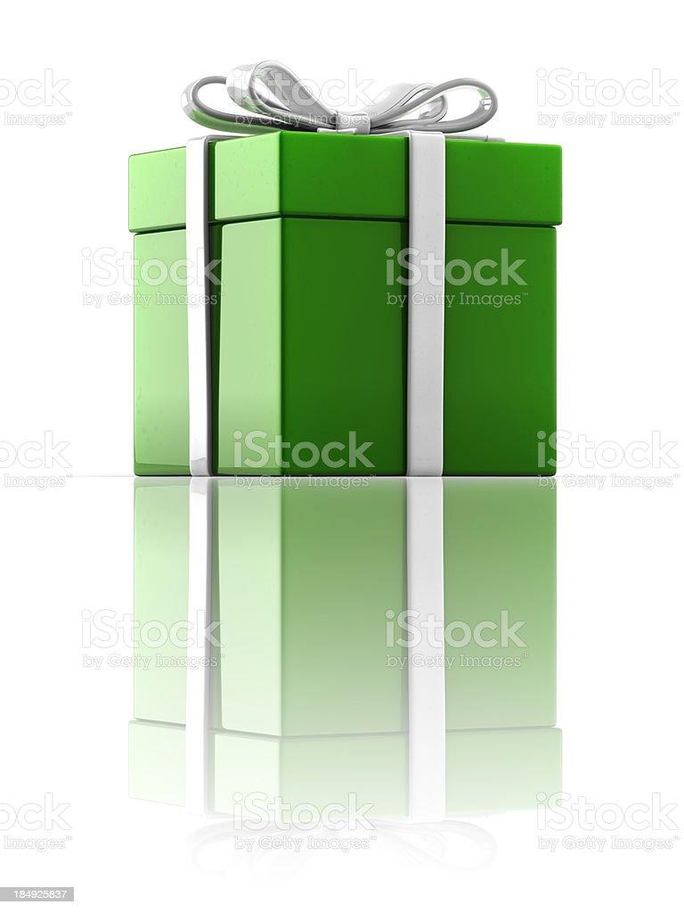 Green Gift Box (Clip path) stock photo