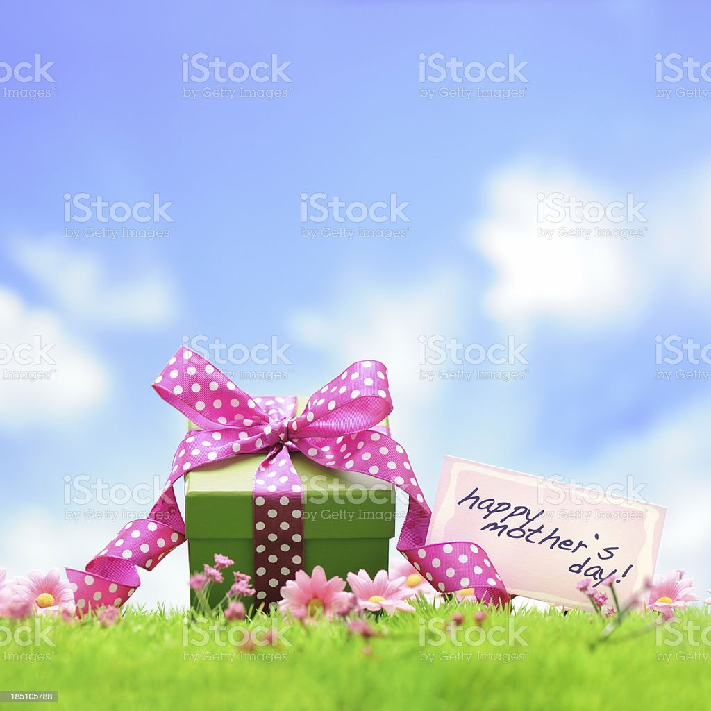Green gift box with pink ribbon royalty-free stock photo