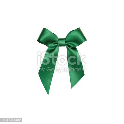 Green color, Ribbon - Sewing Item, Tied Bow, Gift, Tied Knot, cut out