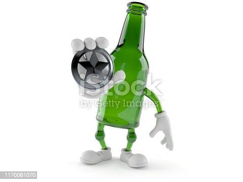 istock Green glass bottle character holding police badge 1170061070