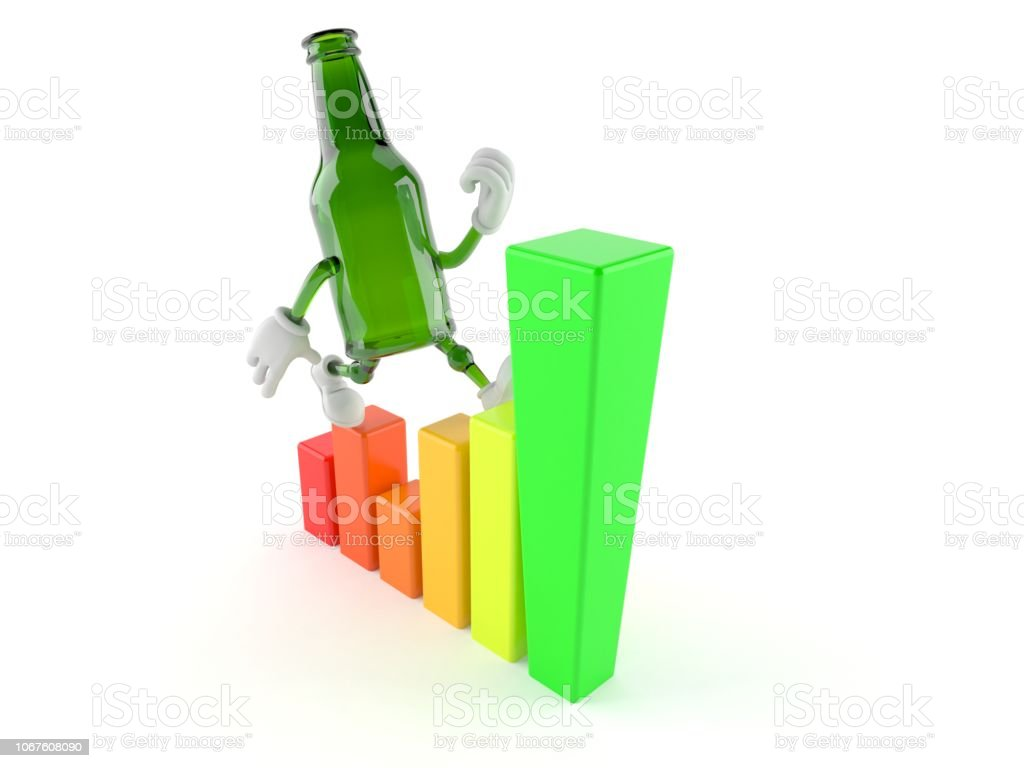Green glass bottle character with chart stock photo