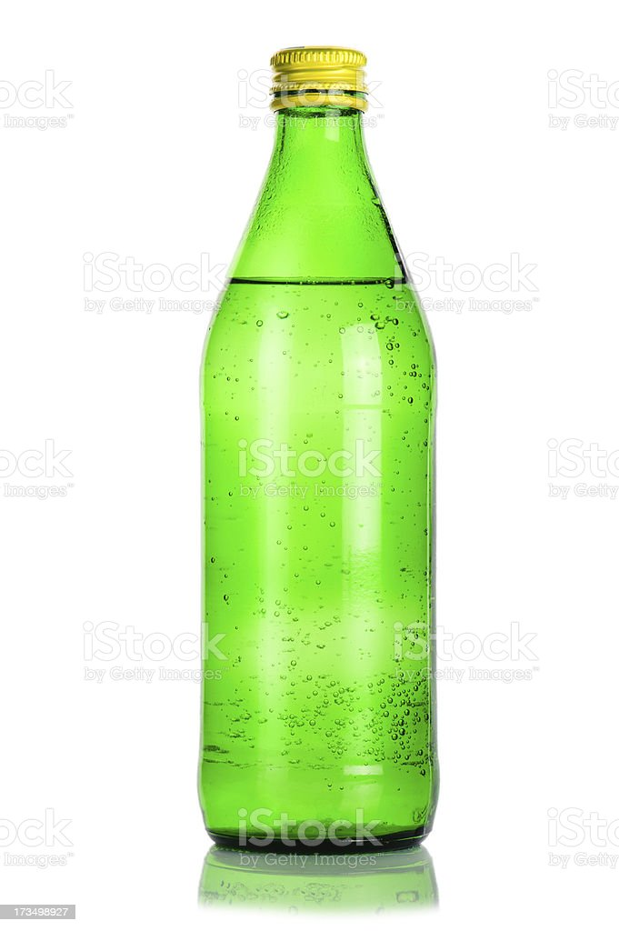 Green glass bottle of mineral water royalty-free stock photo