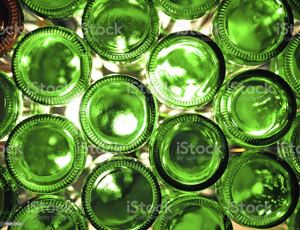 Green glass bottles which are empty stock photo