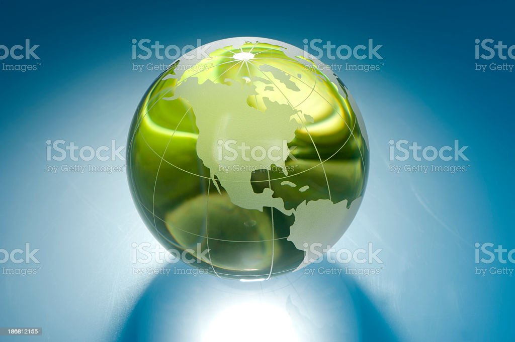 Green glass earth globe royalty-free stock photo