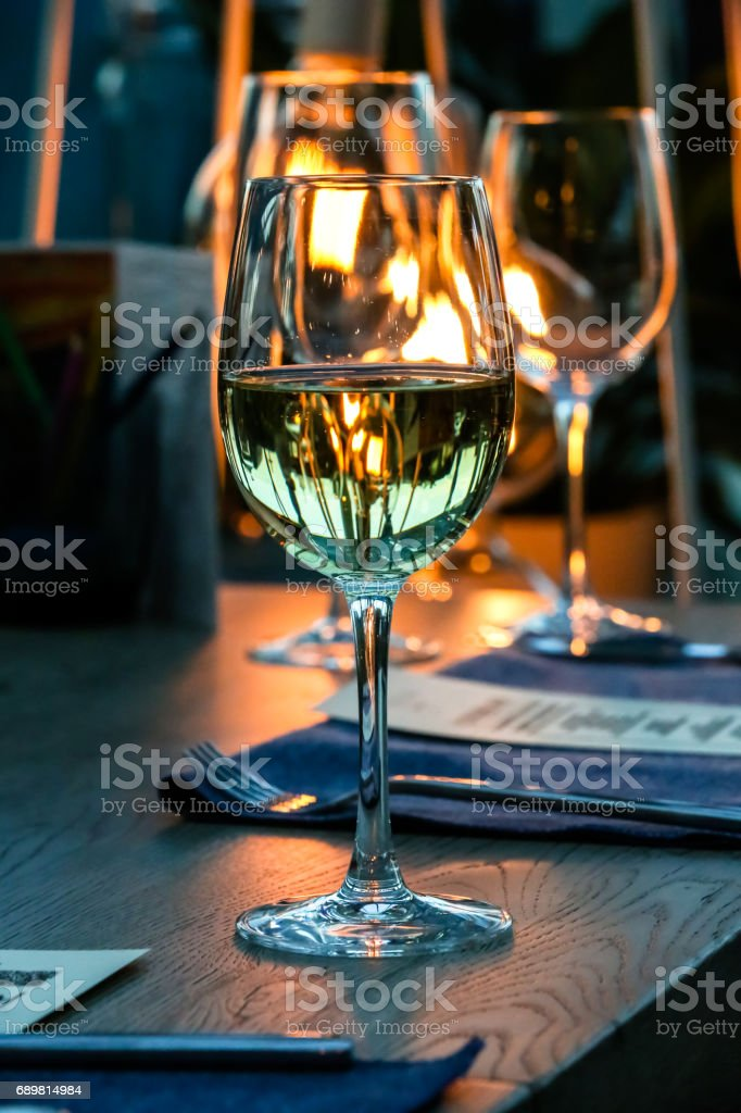 Green Glass Of Water Is On The Table In A Dark Restaurant Stock Photo Download Image Now Istock