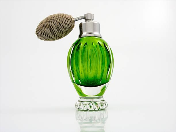 Green Glass Perfume Bottle stock photo