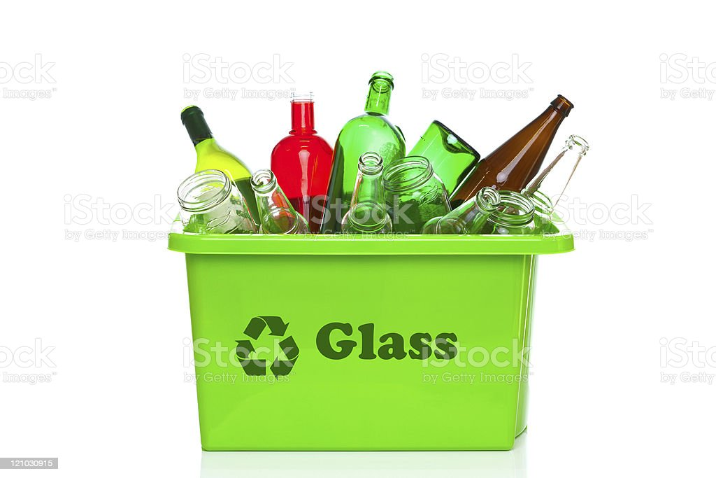 Green glass recycling bin isolated on white stock photo