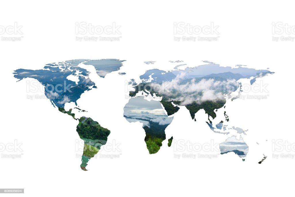green Global map, isolated on a white stock photo