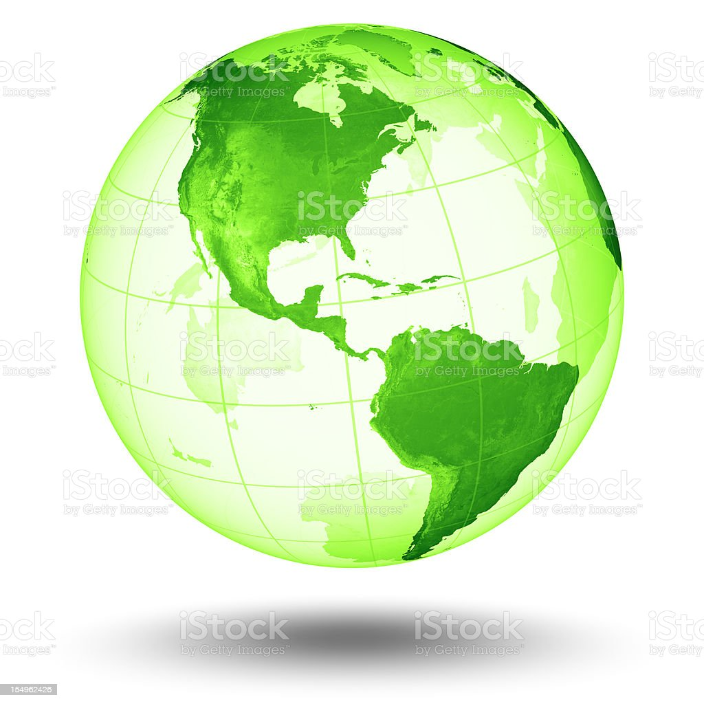 Green Globe  - Americas Western Hemisphere royalty-free stock photo