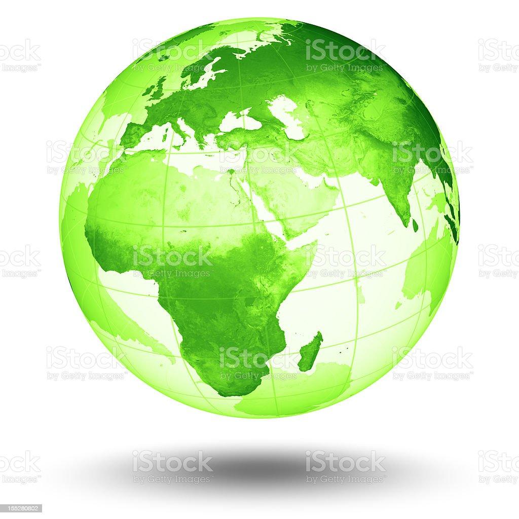 Green Globe - European Eastern Hemisphere royalty-free stock photo