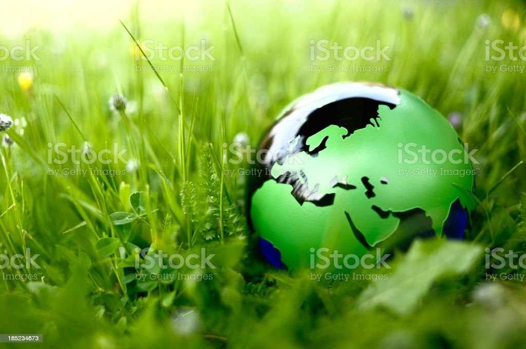 Green globe in nature stock photo