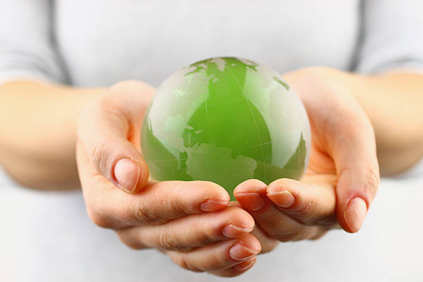 Green globe in the hand Green globe in the hand global village stock pictures, royalty-free photos & images