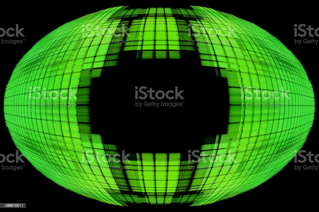Green globe shape on black background with empty space inside. royalty-free stock photo