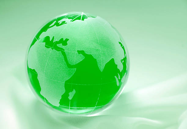 green globe showing africa, europe, asia and russia stock photo