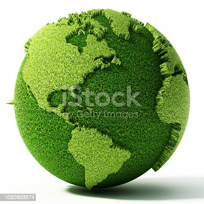 Green globe with world map isolated on white.
