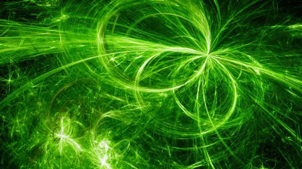gröna glödande elektromagnetisk plasma fält i rymden - teleport bildbanksfoton och bilder