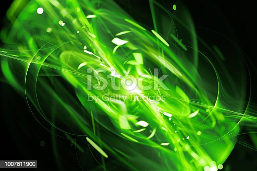 istock Green glowing explosion abstract background 1007811900