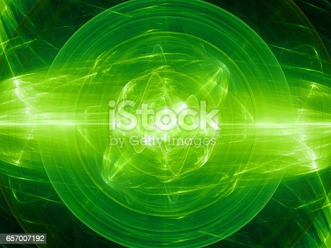 istock Green glowing fusion with plasma force field 657007192