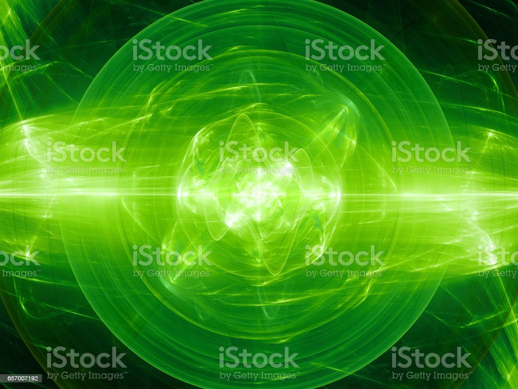 Green glowing fusion with plasma force field vector art illustration