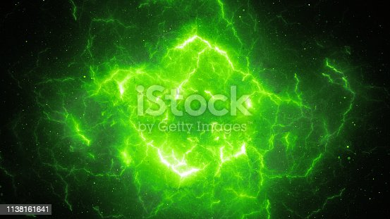 Green glowing high energy lightning, computer generated abstract background, 3D rendering