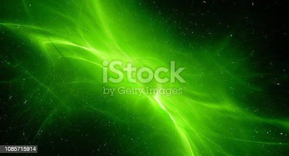 istock Green glowing interstellar plasma field in deep space 1085715914