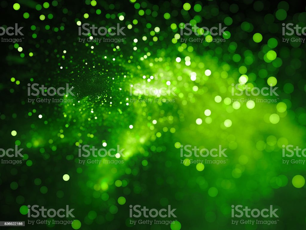 Green glowing nebula with stars in bokeh, depth of field stock photo