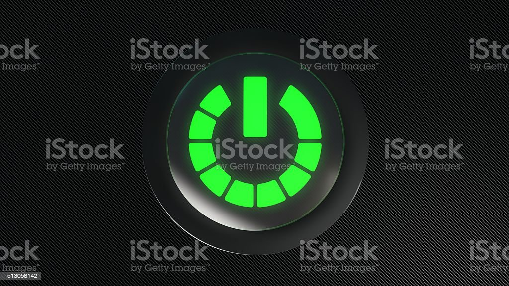 green glowing power icon button stock photo