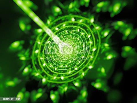 istock Green glowing quantum beam hit target 1085981938