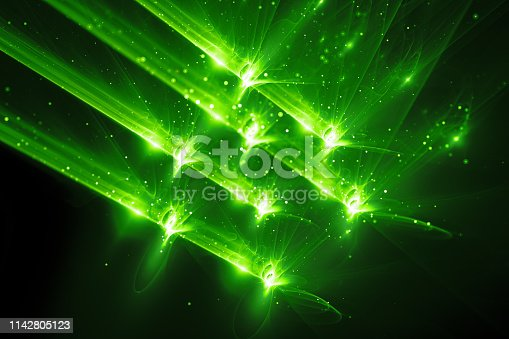 istock Green glowing quantum weapon abstract background 1142805123