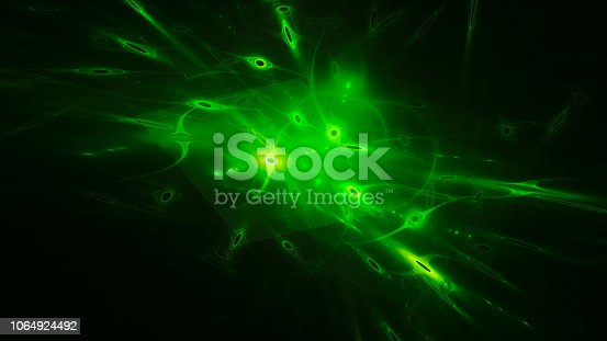 istock Green glowing qubits abstract background 1064924492