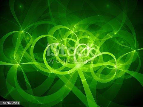 istock Green glowing spaghetti curves in space 847670534