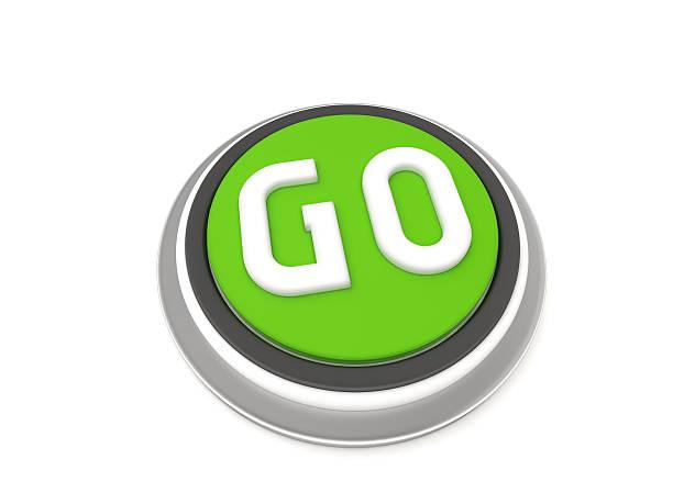 Green GO button stock photo