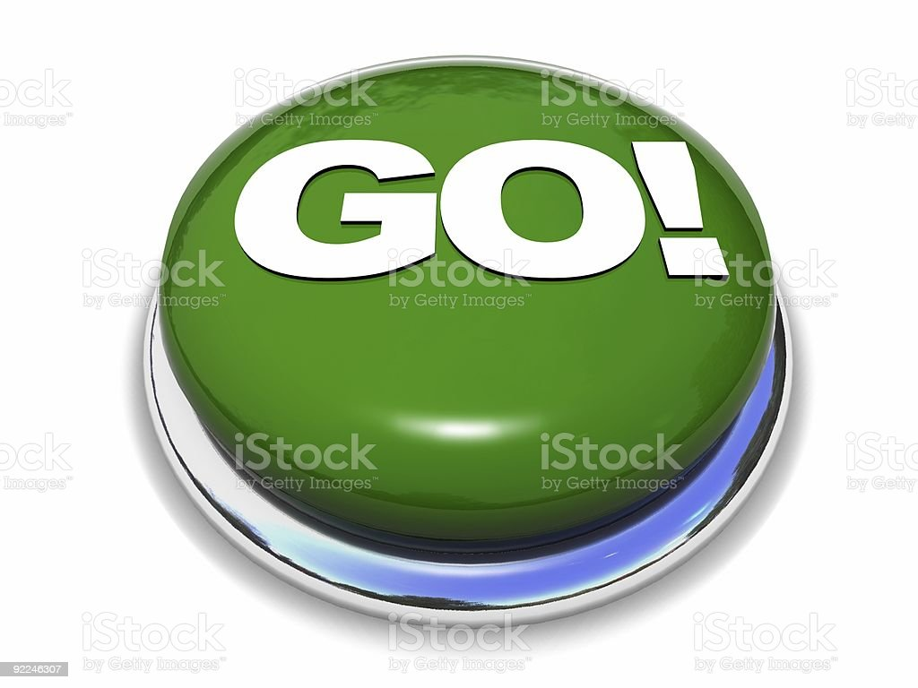 Green go button with silver base royalty-free stock photo